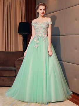 A-Line Flowers Off-the-Shoulder Quinceanera Dress & informal Ball Gown Dresses