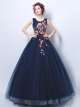 Embroidery Scoop Quinceanera Dress
