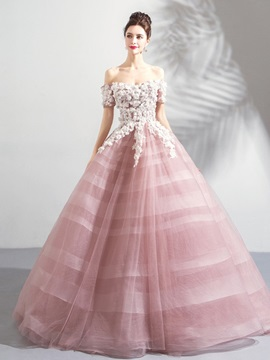 Off-the-Shoulder Appliques Flowres Quinceanera Dress