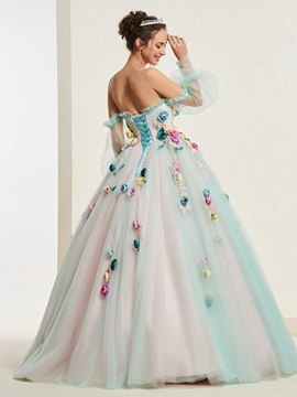 Ball Gown Long Sleeves Floor-Length Flowers Quinceanera Dress