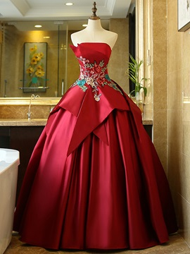 Strapless Cap Sleeves Ball Gown Floor-Length Quinceanera Dress
