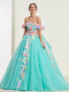 Flowers Ball Gown Off-The-Shoulder Quinceanera Dress 2019