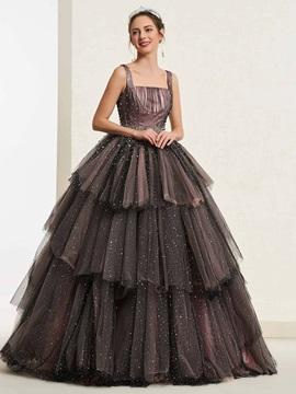 Floor-Length Ball Gown Square Sleeveless Quinceanera Dress 2019