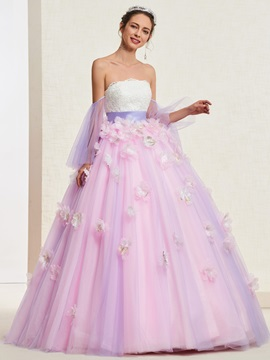 Floor-Length Ball Gown Long Sleeves Flowers Quinceanera Dress 2019