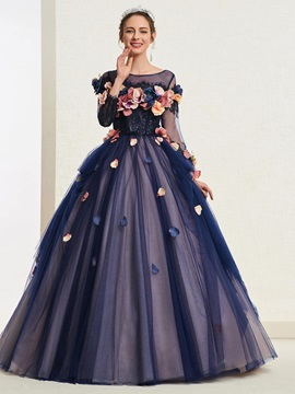 Appliques Floor-Length Bateau Ball Gown Quinceanera Dress 2019 & fashion Ball Gown Dresses