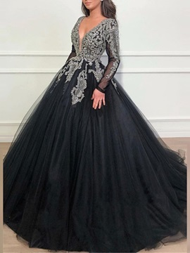 Vintage Long Sleeves Appliques Beading Black Evening Dress 2019