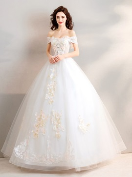 Ball Gown Short Sleeves Beading Off-The-Shoulder Quinceanera Dress 2019