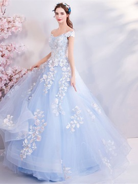 Appliques Off-The-Shoulder Ball Gown Short Sleeves Quinceanera Dress 2019