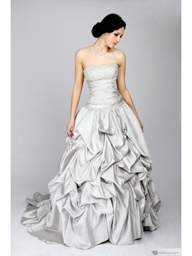 Strapless Beading Pick-ups Ball Gown Dress