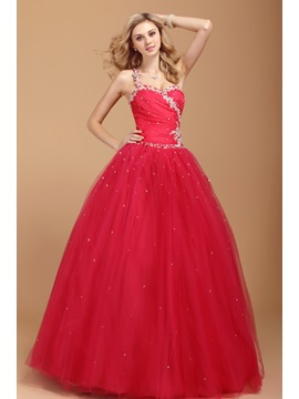 Dramatic One-Shoulder Appliques Sequins A-Line Dasha's Quinceanera Dress & formal Ball Gown Dresses