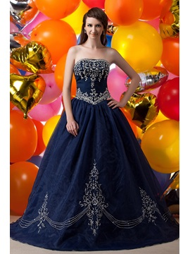 Exquisite Strapless Embroidery Sequins Floor-Length Maria Anastasia's Ball Gown Dress & romantic Ball Gown Dresses