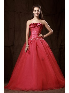 Brilliant A-Line Strapless Empire Flowers Sequins Lace-up Long Sandra's Prom/Quinceanera Dress & petite Ball Gown Dresses