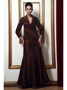 Enchanting A-Line V-Neck 3/4 Sleaves Long Taline's Mother of the Bride Dress