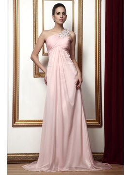 Graceful Draped Beading A-Line One-Shoulder Floor-Length Taline's Mother of The Bride Dress