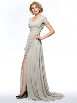 Dazzling V-Neck Split-Front Sweep Train Mother of the Bride Dress