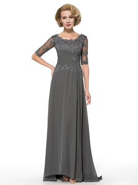 Half Sleeve Appliques Chiffon A-Line Floor-Length Mother of the Bride Dress