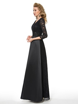 A-Line V-Neck 3/4 Length Sleeve Plus Size Mother of the Bride Dress