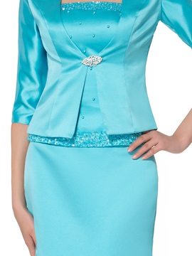 Crystal Brooch Matte Mother of the Bride Dress with Half Sleeve Jacket