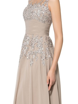 Jewel Neck Embroidery Appliques Floor-Length Mother of the Bride Dress