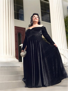 Off the Shoulder Long Sleeve Velvet Plus Size Mother of the Bride Dress