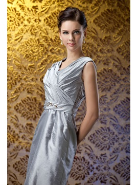 Fabulous Beaded Pleats Column V-Neck Knee-Length Polina's Mother of the Bride Dress With Jacket/Shawl