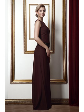 Simple Style Sheath Round Neckline Floor-Length Alina's Mother of the Bride Dress With Jacket/Shawl
