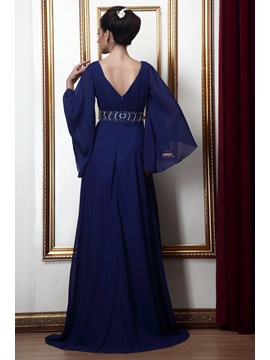 Gorgeous V-Neck Beaded Waist Mother of the Bride Dress with Sleeves