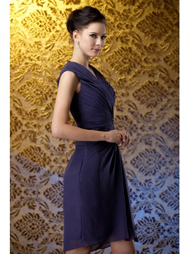 Fashion Ruched Column V-Neck Knee-Length Polina's Mother of The Bride Dress