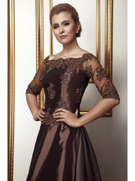 Attractive A-Line Lace/Pleats Off-the-Shoulder Floor-length Alina's Mother of the Bride Dress