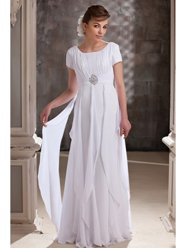 Buy Elegant A-line Ruffles Scoop Short Sleeves Floor-Length Daria's Mother Bride Dress