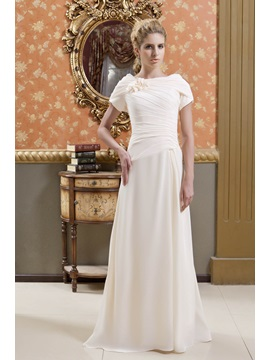 Gorgeous Veronika Valentinova's Flowers Ruched A-Line Scoop Neckline Floor-Length Mother of the Bride Dress