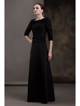 Fantastic Lace A-line Scoop Neckline Half-Sleeves Floor-length Luba