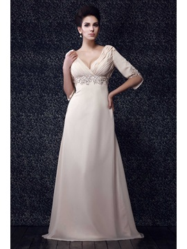 Charming Pleats Beaded Sheath/Column V-Neck Half Sleeves Floor-Length Taline's Mother of the Bride Dress