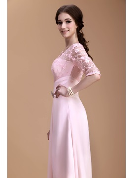 Charming Lace A-Line V-Neck Half-Sleeves Ankle-Length Natilie's Mother of the Bride Dress