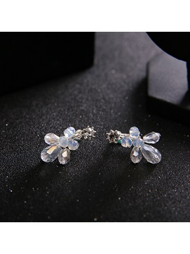 Hot Sale Colored Artificial Crystal Inlaid Floral Romantic Two-Piece Wedding Jewelry Sets