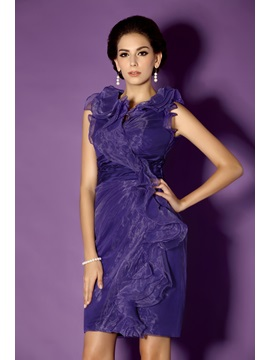 Graceful Cascading Ruffles Column Knee-Length Taline's Mother of the Bride Dress