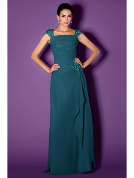 Graceful Lace Beaded A-Line Square Neckline Floor-Length Taline