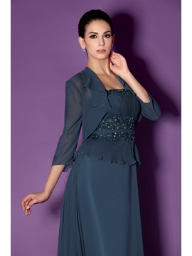 Fantastic Lace Trimmed Appliques Strapless Taline's Mother of the Bride Dress With Jacket/Shawl