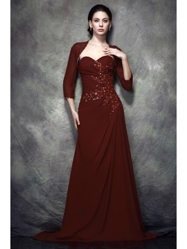 Faddish Beaded Sheath/Column Sweetheart Floor-Length Polina's Mother of the Bride Dress With Jacket/Shawl