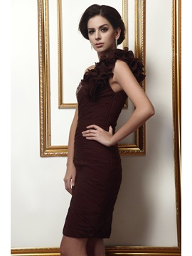 Elegant Beading Pleats Ruffles Sheath/Column One-Shoulder Knee-Length Taline's Mother of the Bride Dress