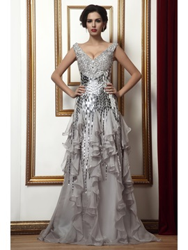 Fashion A-Line Ruffles V-Neck Sequined Long Mother of the Bride Dress
