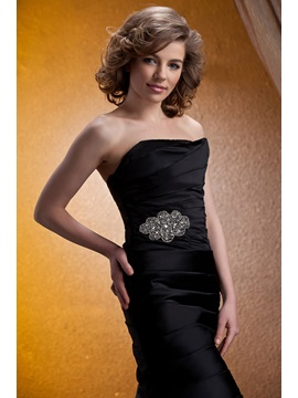 Delicated Tiered Crystal Floral Pin Knee-Length Strapless Mother of the Bride Dress With Jacket/Shawl