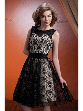 Graceful Lace A-Line Scoop Neckline Knee-Length Mother of The Bride Dress
