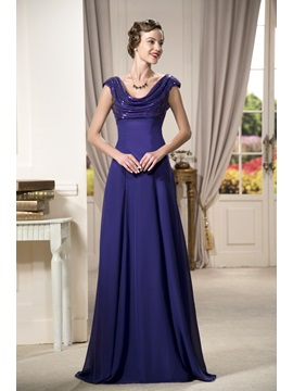 Enchanting Sequins Cowl Neckline Floor-Length Cap Sleeves A-Line Mother Dress