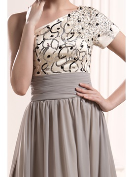 Faddish Sequins Beaded One-Shoulder Short Sleeve Floor-Length Mother of the Bride Dress