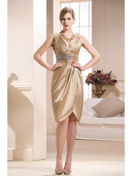 Beading Column V-Neck Knee-length Mother of the Bride Dress