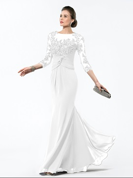 Appliques 3/4 Length Sleeve Mother of the Bride Dress