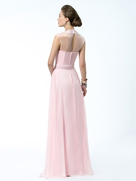 Courtlike A-Line High-Neck Beading Floor-Length Sleeves Evening Dress