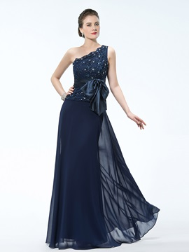 Elegant One-Shoulder Appliques Bowkont Beading Long Mother of the Bride Dress