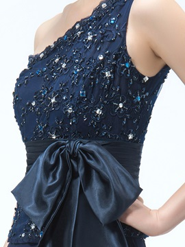 One Shoulder Appliques Beading Mother of the Bride Dress